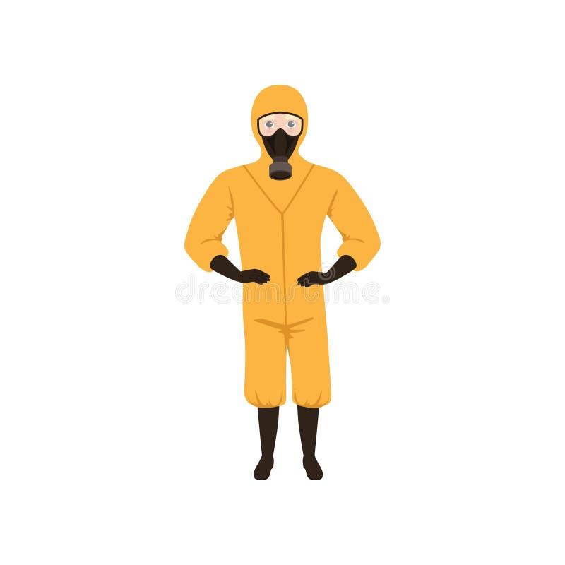 Работник химической лаборатории нося оранжевые защитный костюм, маску противогаза, перчатки и ботинки Плоский дизайн вектора бесплатная иллюстрация