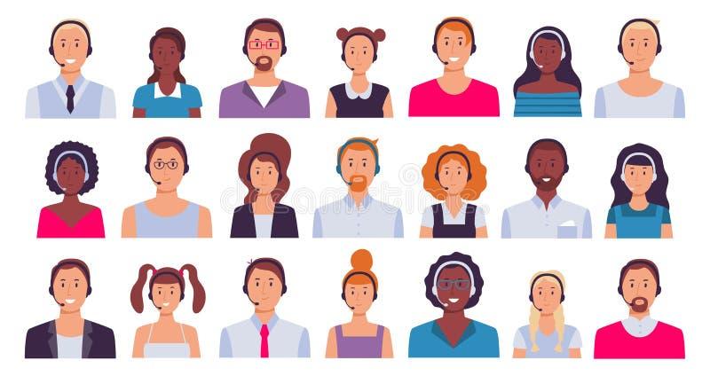 Работник центра телефонного обслуживания Ассистент работы с клиентом, работники секретарши и 24 набора вектора воплощения операто бесплатная иллюстрация