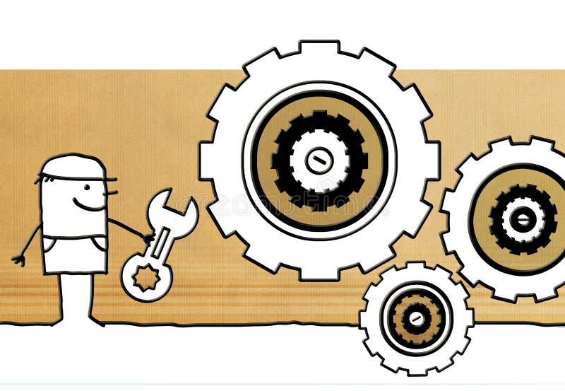 Работник шаржа с инструментом и большими шестернями иллюстрация вектора