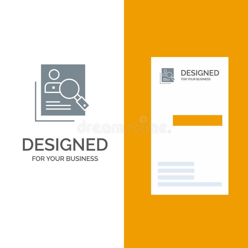 Работник, Hr, человеческое, звероловство, личное, ресурсы, резюме, дизайн логотипа поиска серые и шаблон визитной карточки бесплатная иллюстрация