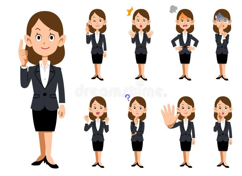 Работницы 9 видов жестов и выражения иллюстрация вектора