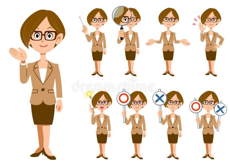 Работницы с eyeglasses 9 жесты и выражений иллюстрация вектора