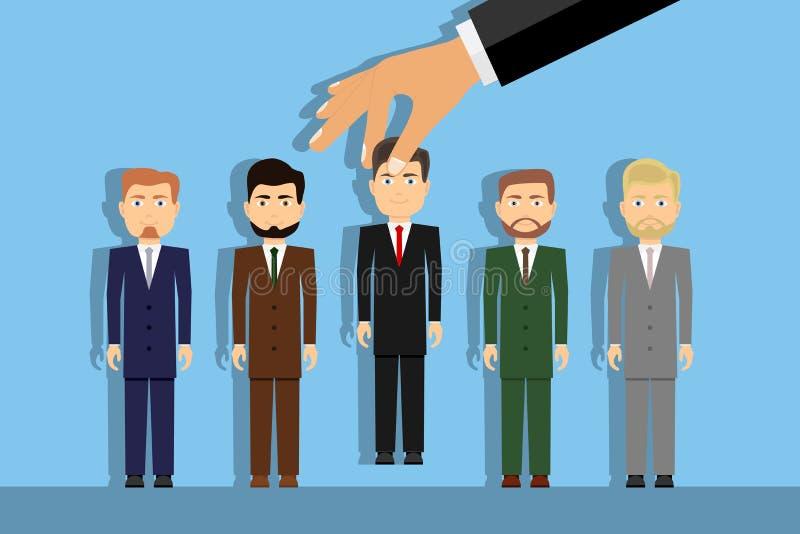 Работодатель выбирает правую персону вручную Выбор выбранного для работы иллюстрация вектора