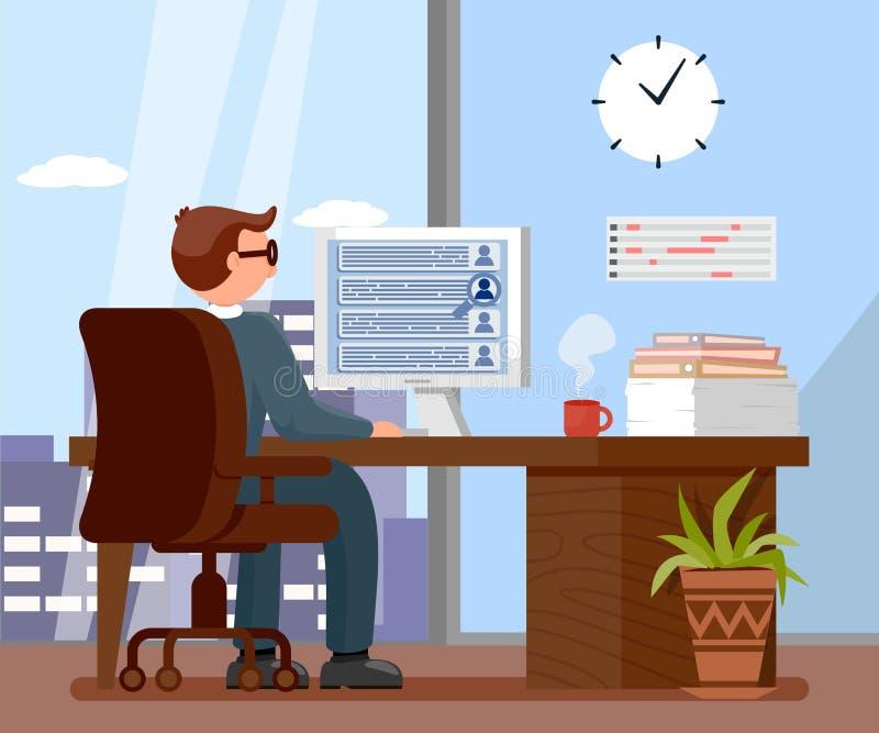 Работодатель в иллюстрации вектора мультфильма офиса иллюстрация вектора