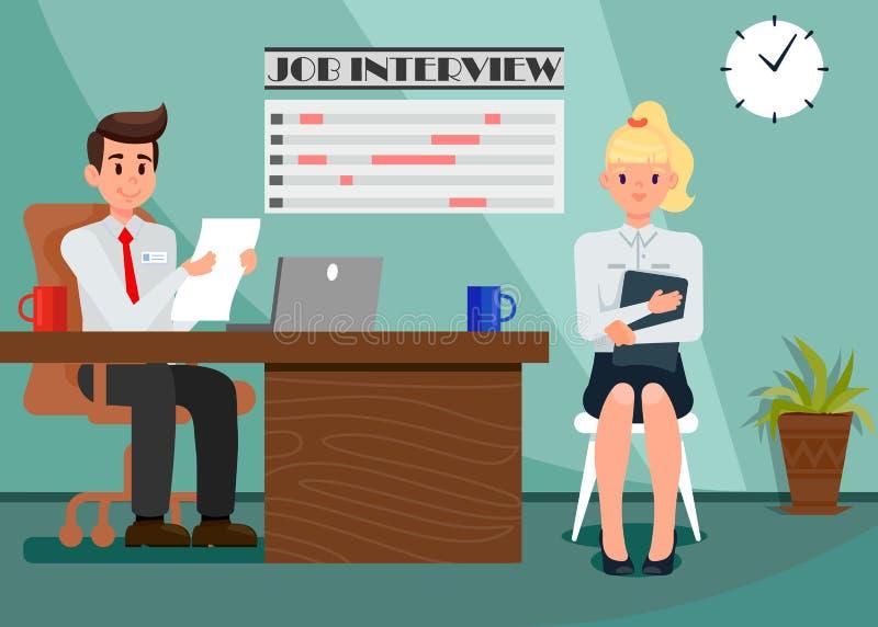 Работодатель и работник в иллюстрации офиса плоской иллюстрация штока