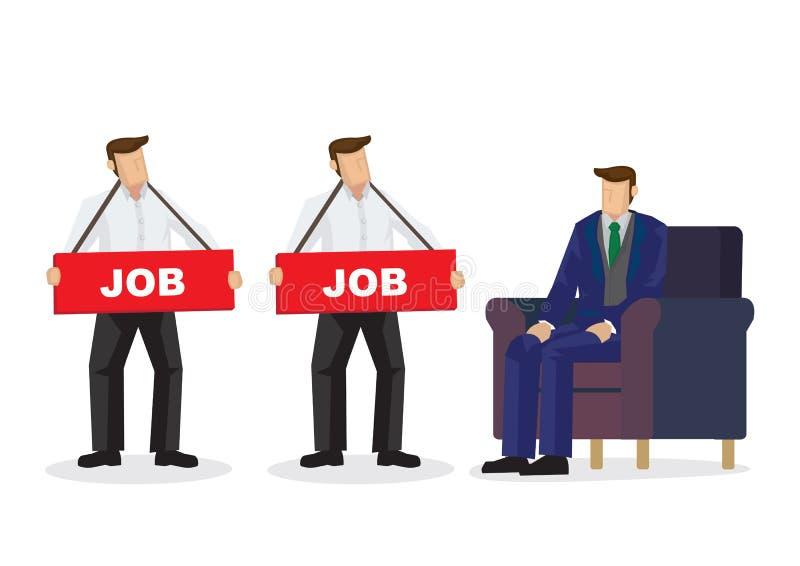 Работодатель смотря и выбирая людей которым нужна работа для его компании Концепция рекрутства или корпоративного рабочего места иллюстрация вектора