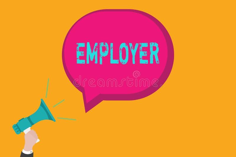 Работодатель сочинительства текста почерка Демонстрировать или организация смысла концепции который используют показывать на пери иллюстрация штока
