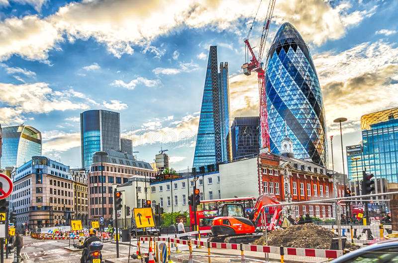 Работы в процессе в финансовом районе Лондона стоковые изображения rf