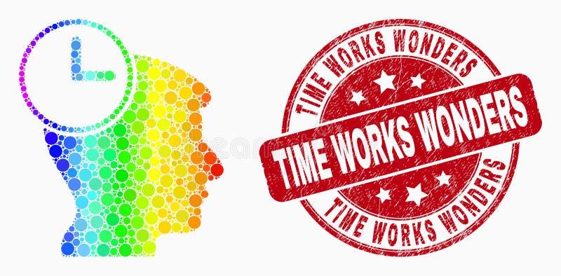 Работы значка часов головы Pixelated вектора спектральные и времени дистресса интересуют печатью иллюстрация вектора