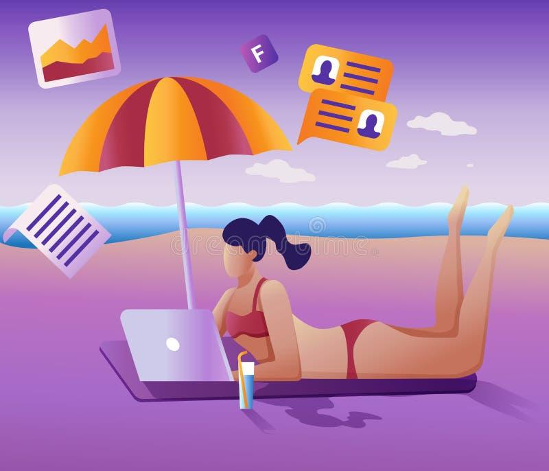 Работы концепция удаленно Плоская иллюстрация вектора Маленькая девочка удаленно работая на ноутбуке лежа на пляже иллюстрация вектора