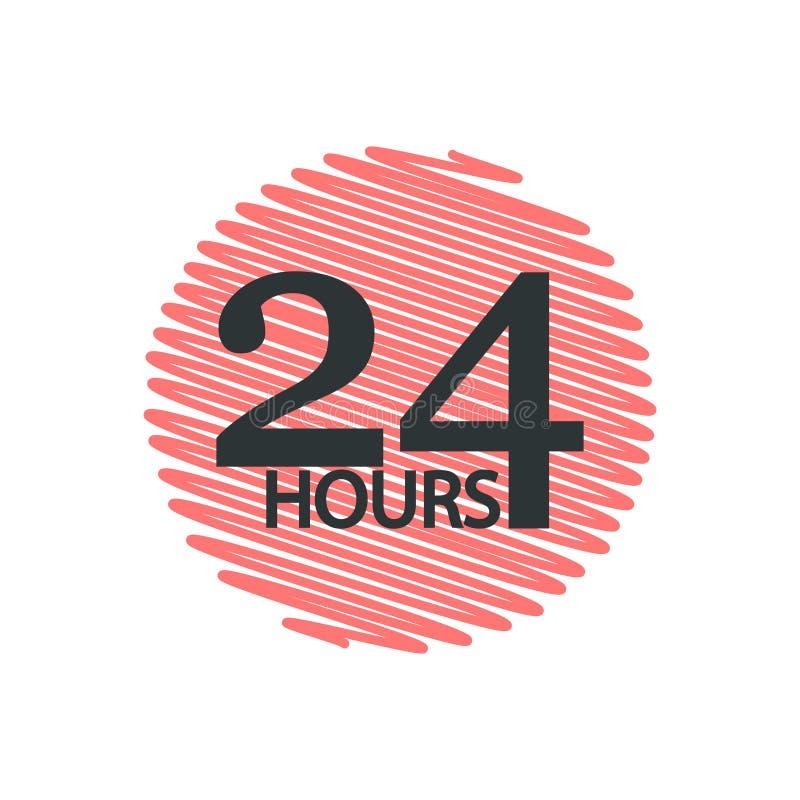 Работы круглосуточно 24 часа также вектор иллюстрации притяжки corel иллюстрация вектора