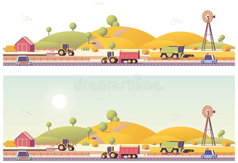 Работы на местах фермы вектора низкие поли бесплатная иллюстрация