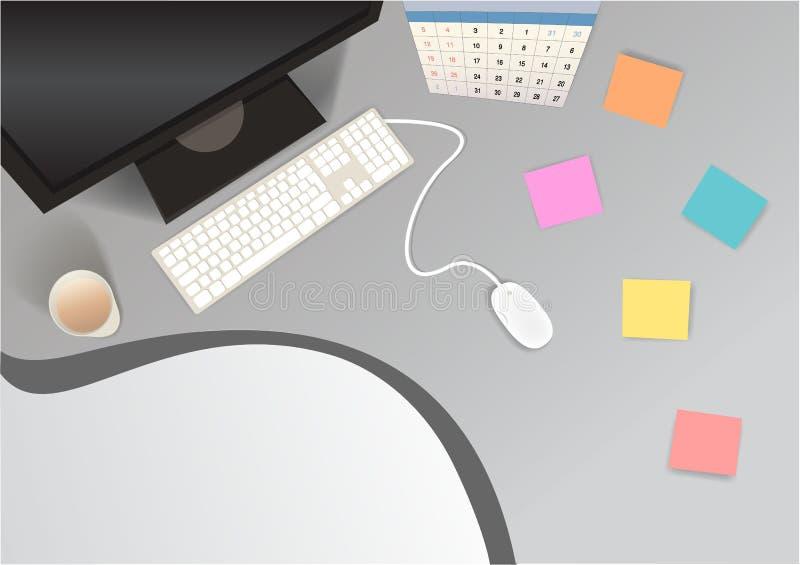 Рабочая станция рабочего места реалистическая для сети/печати бесплатная иллюстрация