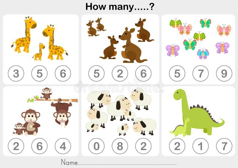 Рабочее лист образования - подсчитывать объект для детей бесплатная иллюстрация