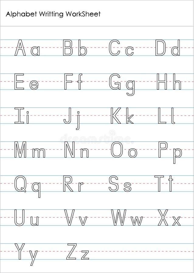 Рабочее лист практики сочинительства алфавита бесплатная иллюстрация