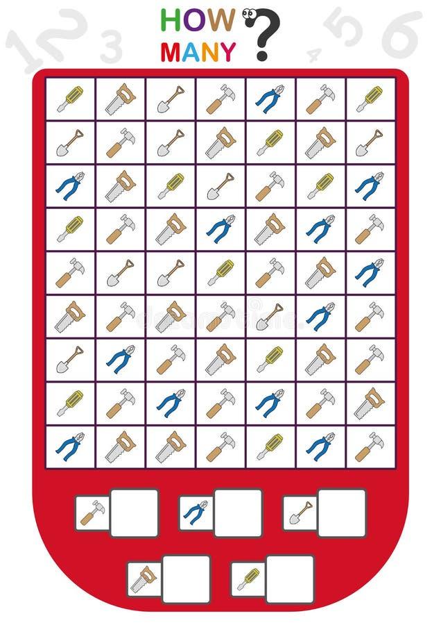 рабочее лист для детей, подсчитывает число объектов, учит номера, сколько объектов, воспитательная игра детей иллюстрация вектора