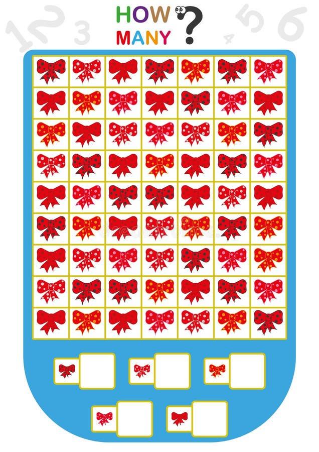 рабочее лист для детей, подсчитывает число объектов, учит номера, сколько объектов, воспитательная игра детей бесплатная иллюстрация