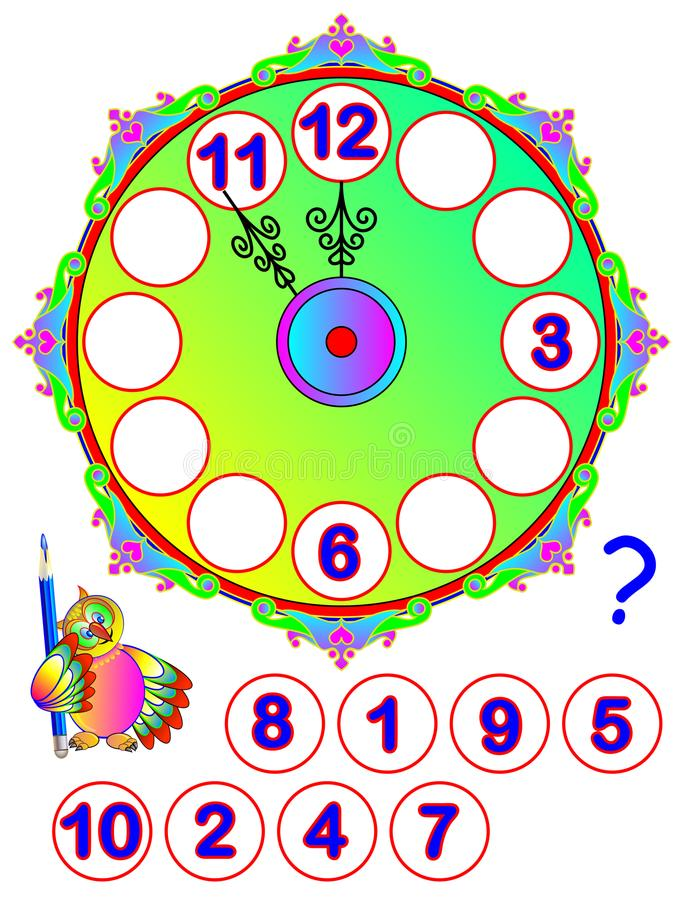 Рабочее лист для маленьких ребеят Отремонтируйте часы Найдите отсутствующие номера и напишите их на правильных местах Игра голово иллюстрация штока