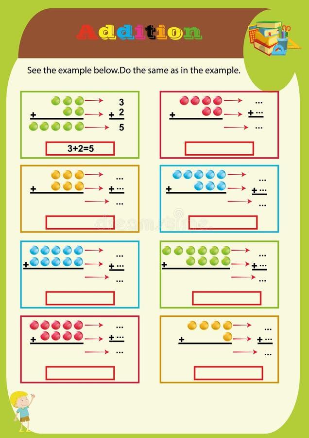 Рабочее лист добавлению Математическая игра головоломки Учить математику, задачи для добавления для детей дошкольного возраста ра иллюстрация вектора
