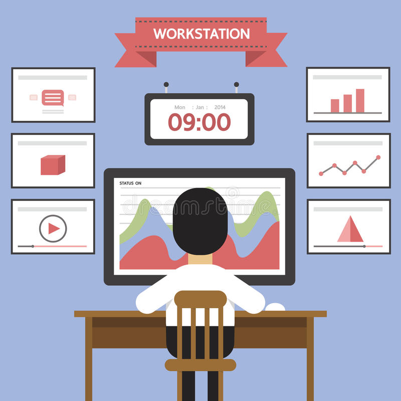 Рабочее место, данные по аналитика сети иллюстрация вектора