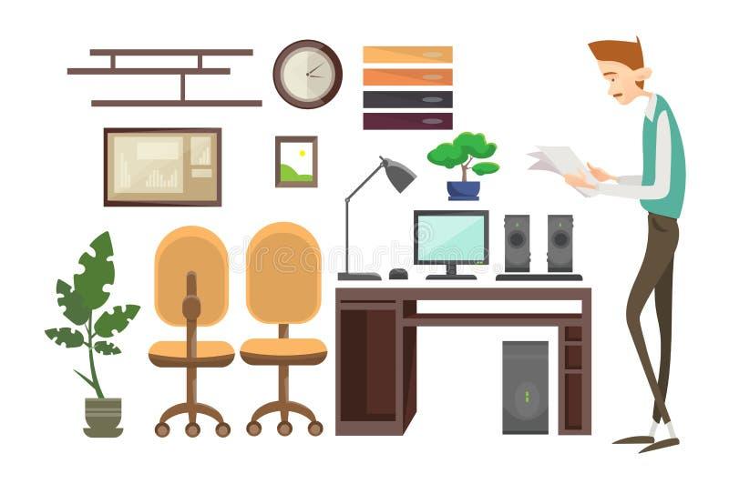 Рабочее место бизнесмена внутреннее, работник офиса менеджера бизнесмена иллюстрация штока