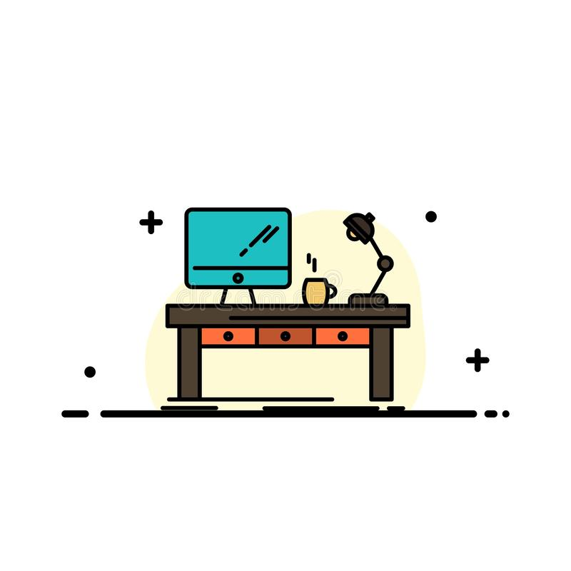 Рабочее место, дело, компьютер, стол, лампа, офис, линия дела таблицы плоская заполнило шаблон знамени вектора значка иллюстрация штока