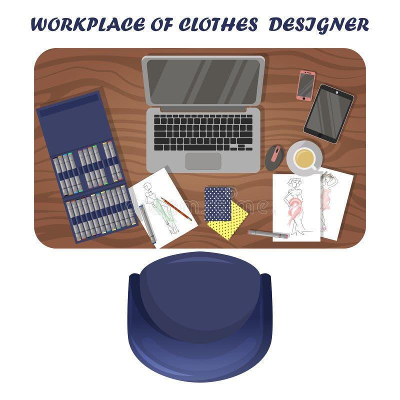 Рабочее место дизайнера одежд Место для работы иллюстратора моды r иллюстрация штока