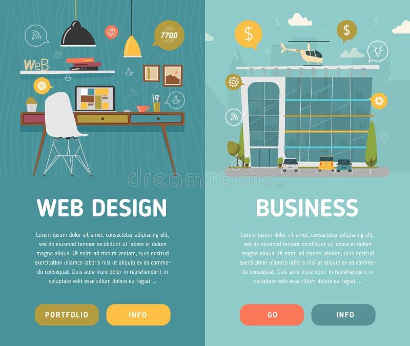 Рабочее место и деловый центр веб-дизайна бесплатная иллюстрация
