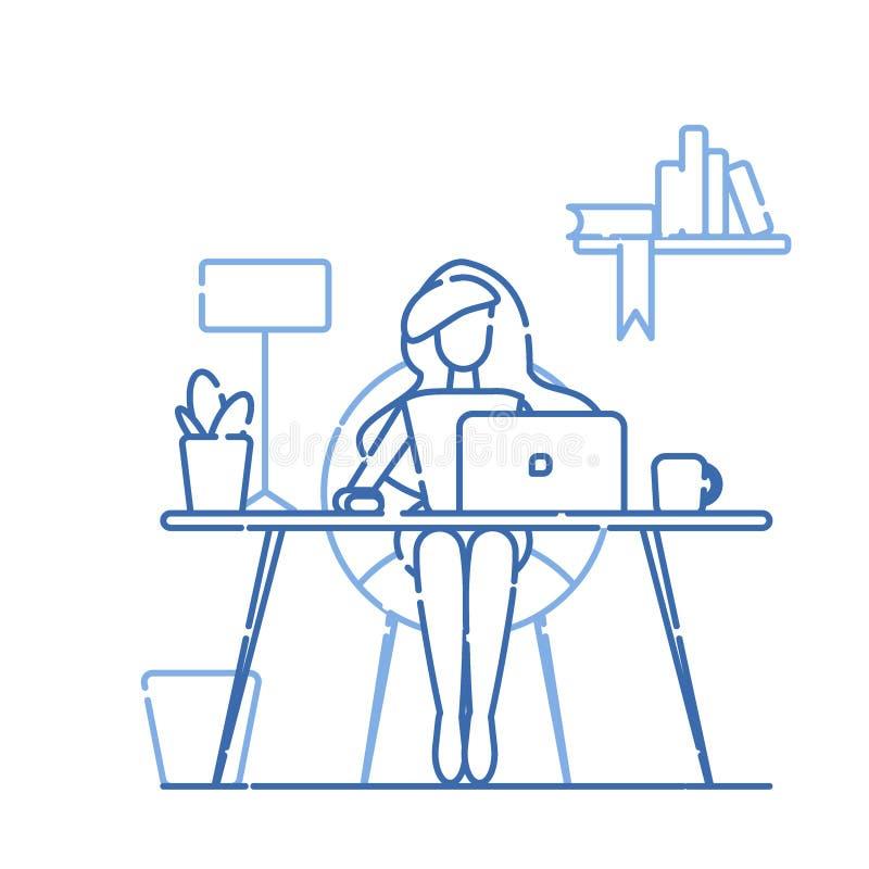 Рабочее место офиса Девушка сидит на таблице На таблице ноутбук, лампа, чашка, кактус Иллюстрация вектора с голубой линией иллюстрация штока