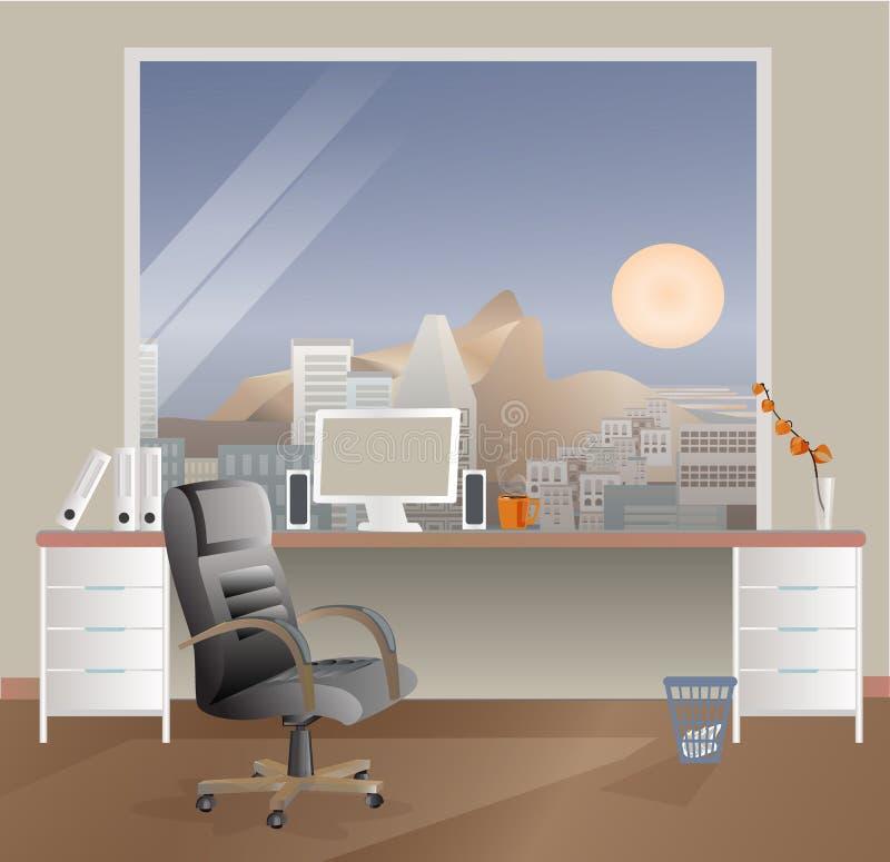 Рабочее место офиса дизайна Рента и продажа офиса Размеры офиса проекта иллюстрация штока
