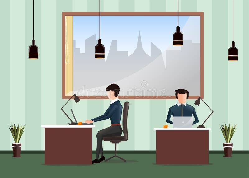 рабочее место офиса изображения иллюстраций 3d Люди работая в офисе Работники сидя на столах и работе на компьютере иллюстрация штока