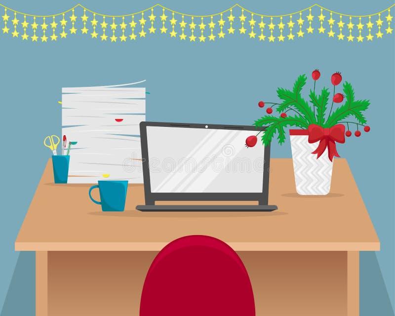 Рабочее место офиса рождества с ветвями ели бесплатная иллюстрация