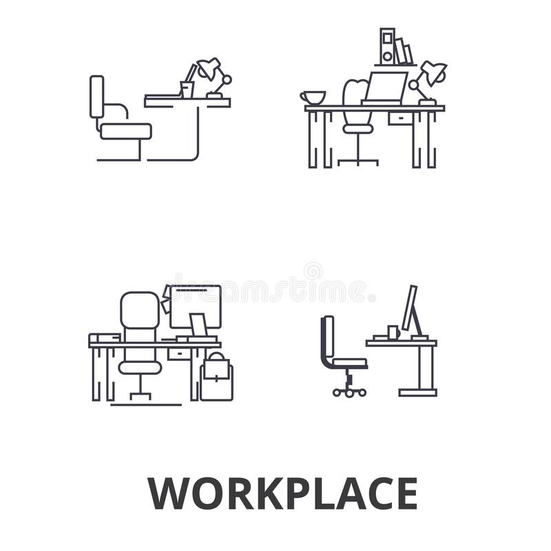 Рабочее место, офис, работа, дело, стол, корпоративный интерьер, промышленная линия значки Editable ходы Плоский вектор дизайна иллюстрация вектора