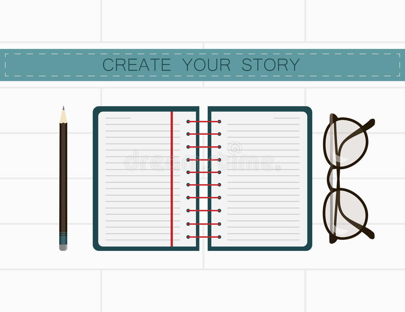 Рабочее место писателя Создайте ваш рассказ в примечаниях иллюстрация вектора