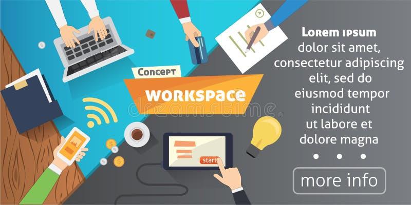 Рабочее место при персона работая на видео-плейер компьтер-книжки наблюдая, концепции webinar, онлайн обучении дела, образовании иллюстрация вектора