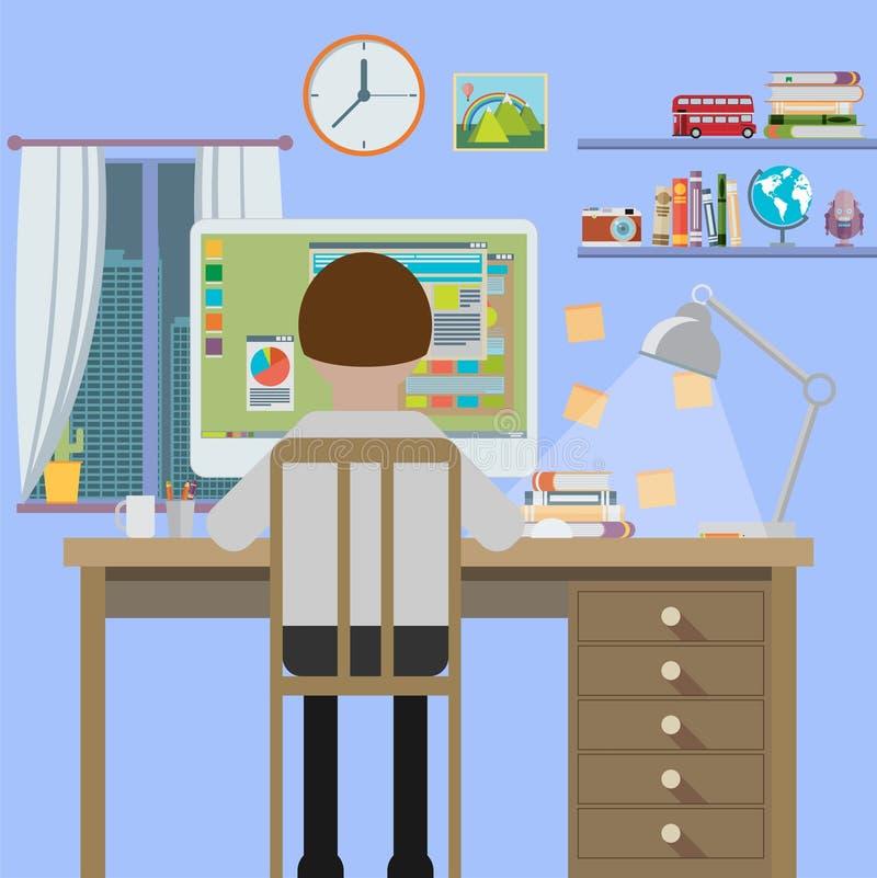 Рабочее место, плоский дизайн бесплатная иллюстрация