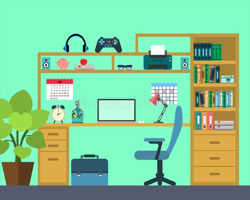 Рабочее место ребенк schoo - плоский стиль иллюстрация иллюстрация штока