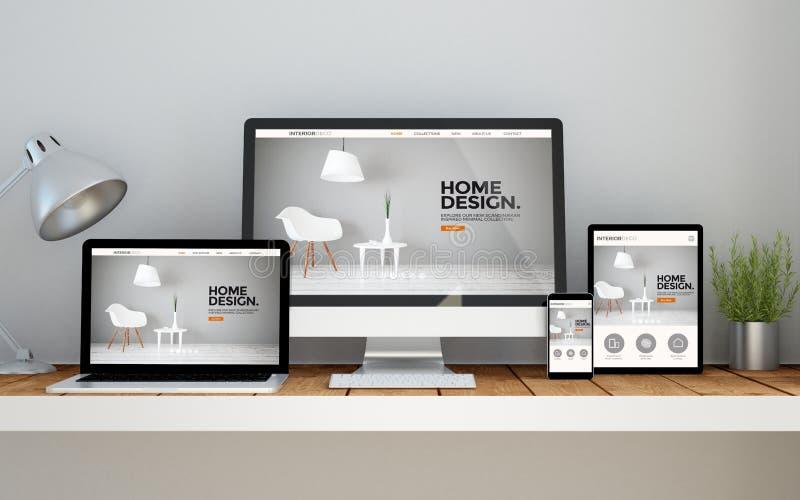 рабочее место с вебсайтом внутреннего designonline отзывчивым на devic иллюстрация штока