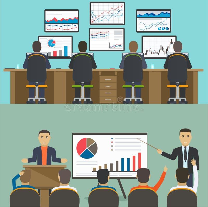 Рабочее место с группой в составе работники, данные по аналитика сети и статистика вебсайта развития иллюстрация штока