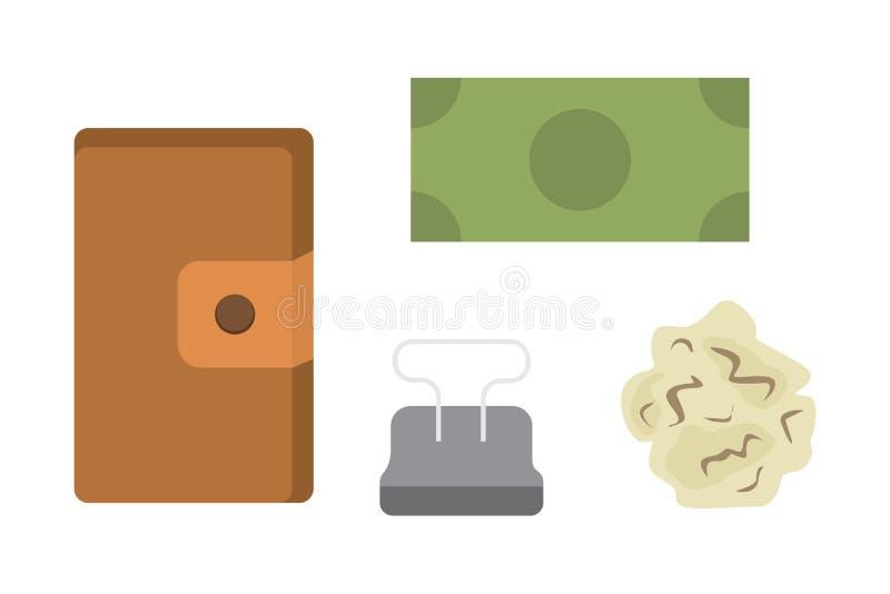 Рабочее место с документами Офис личный и комплект вектора значков дела таблица работы с иллюстрацией компьтер-книжки устройства  иллюстрация штока