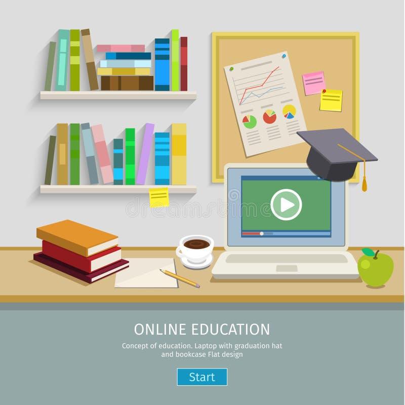 Рабочее место с компьютером для онлайн образования иллюстрация штока
