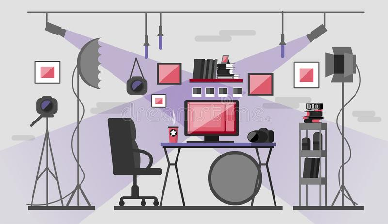 рабочее место фотографа Оборудование и рабочий стол фото иллюстрация штока
