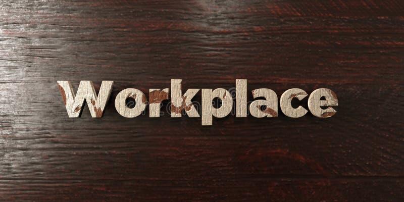 Рабочее место - grungy деревянный заголовок на клене - представленное 3D изображение неизрасходованного запаса королевской власти иллюстрация штока