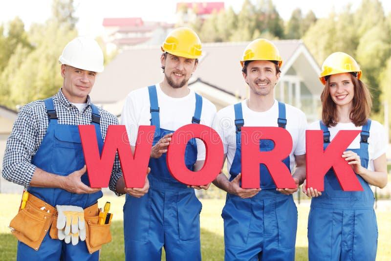 Рабочие классы с работой слова стоковое изображение