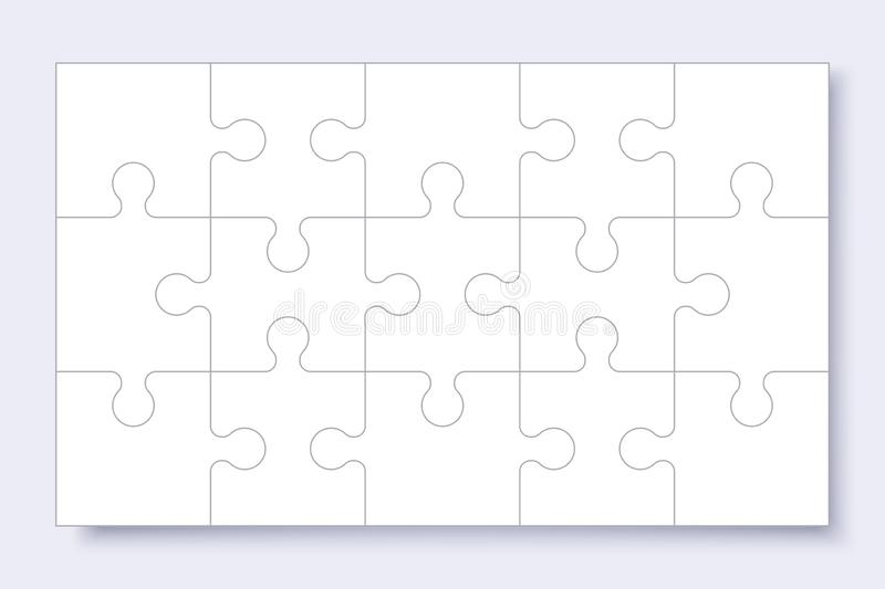 Puzzles grid template. Jigsaw puzzle with pieces, thinking game, jigsaws detail frame for business presentation with shadow. royalty free illustration