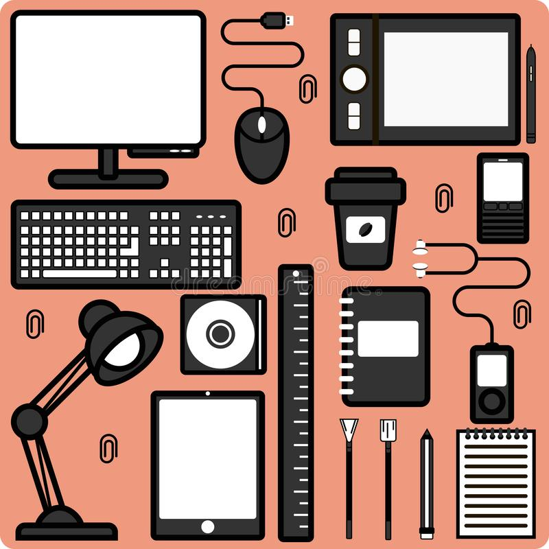 Items for the workplace. Computer, technical devices and stationery. Wallpaper vector illustration royalty free stock photos