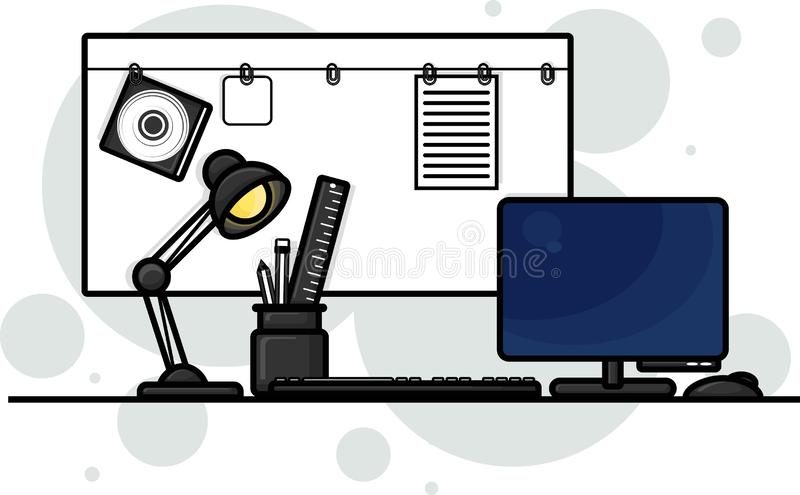 Workspace graphic design, vector illustration. Workplace, office, work, work symbols. stock photo