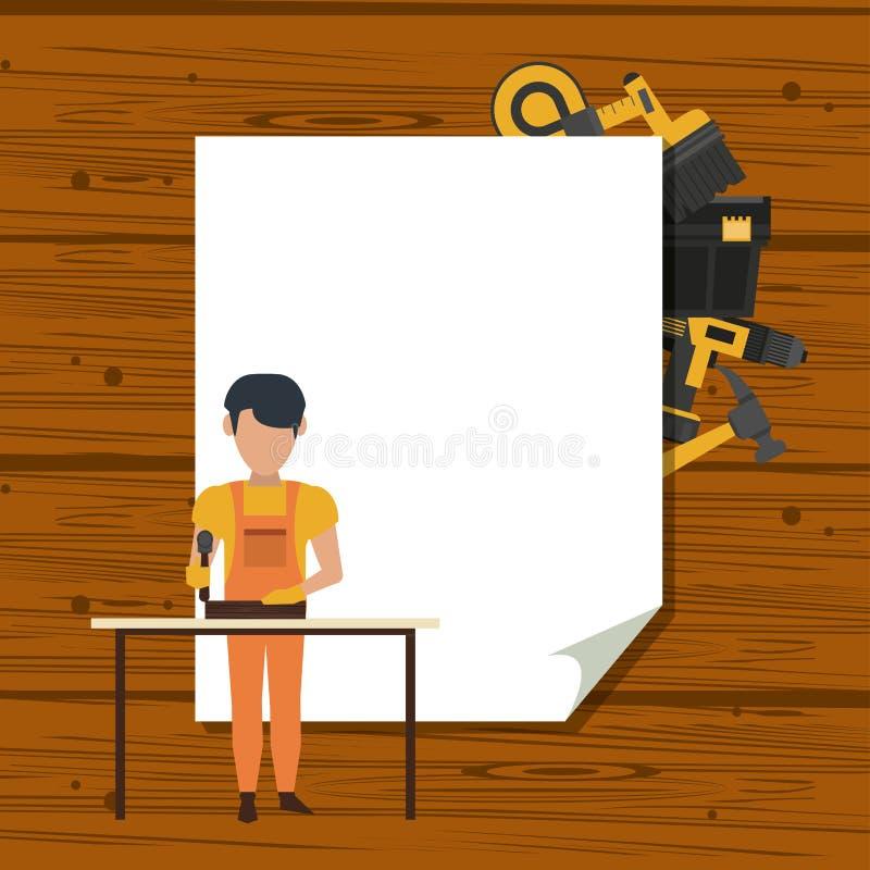 Рабочий-строители и инструменты иллюстрация вектора