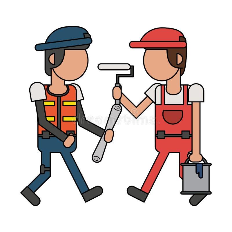 Рабочий-строители с мультфильмами инструментов безликими бесплатная иллюстрация