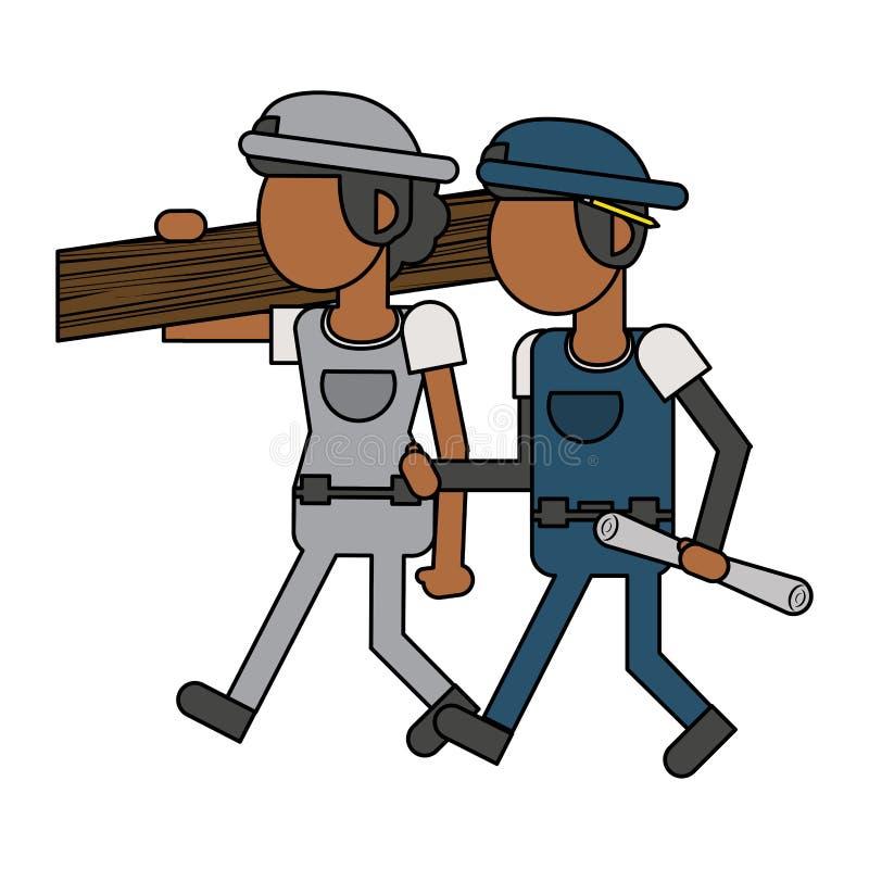Рабочий-строители с мультфильмами инструментов безликими иллюстрация вектора